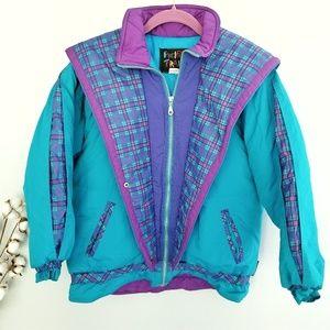 {Vintage} Blue & Purple 90's Puffer Jacket Sz L